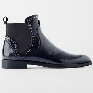 Zara flat ankle boots with studs sz 10